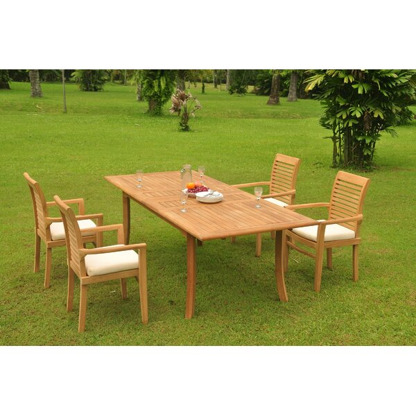 Ilwell 5 Piece Teak Dining Set by Rosecliff Heights