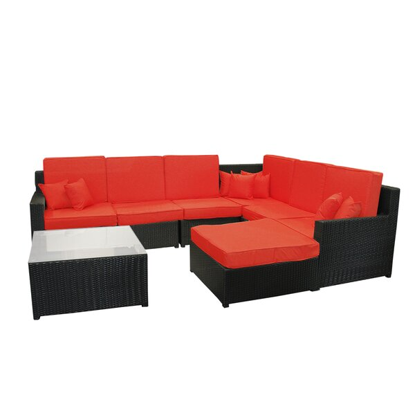 8 Piece Rattan Sectional Seating Group with Cushions by Northlight Seasonal