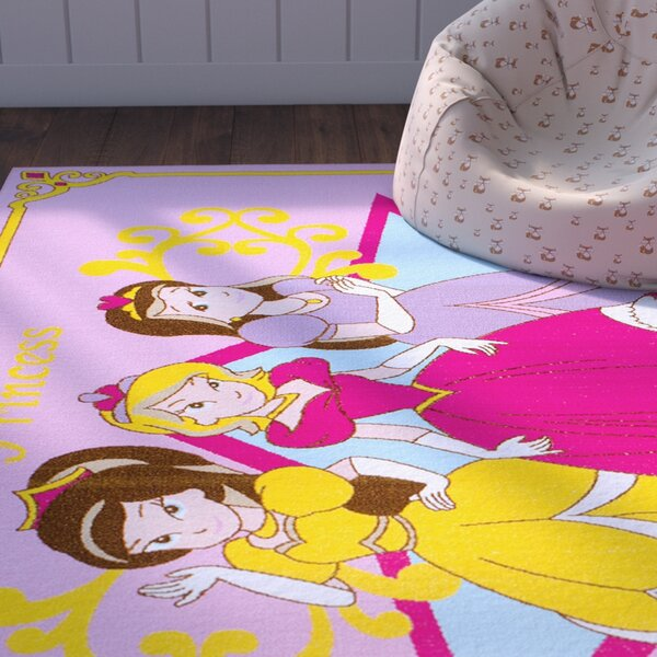 Angela Pink/Yellow Area Rug by Zoomie Kids