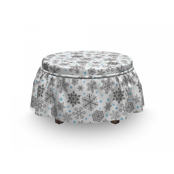 Snowflake Lace Winter 2 Piece Box Cushion Ottoman Slipcover Set By East Urban Home