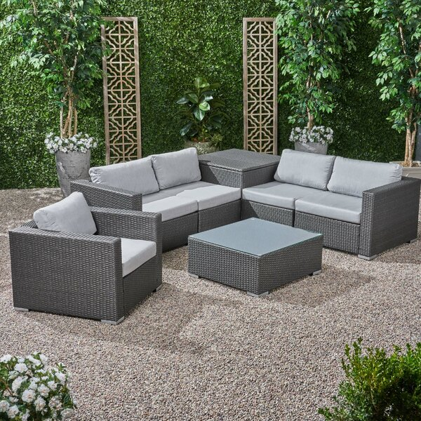 Roxann Outdoor 5 Seater Wicker Sectional Sofa Set with Storage Ottoman and Sunbrella Cushions by Brayden Studio