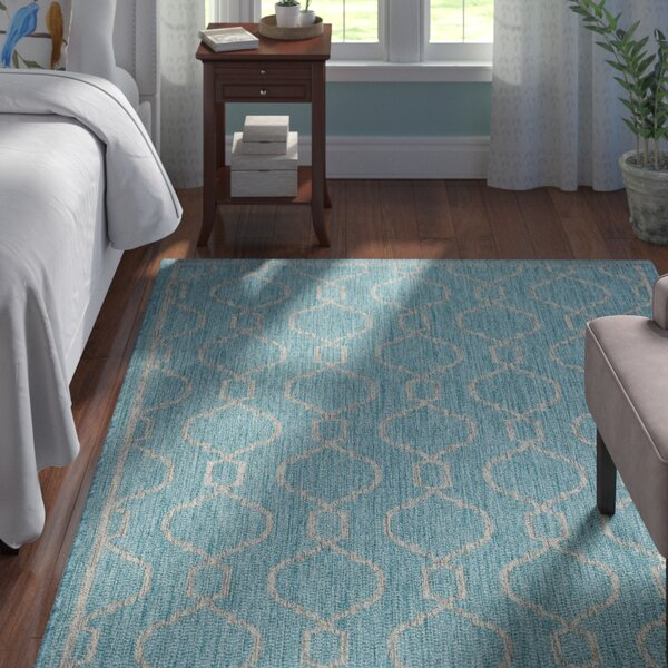 Ford Transitional Aqua Indoor/Outdoor Area Rug by Andover Mills