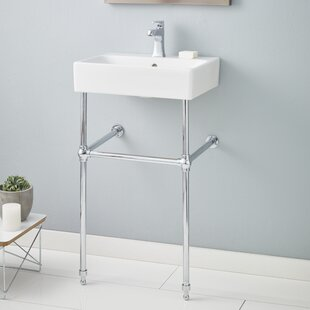 Affordable Nuo Ceramic 20 Console Bathroom Sink with Overflow By Cheviot Products