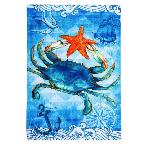 Crab and Starfish Polyester Garden Flag by Evergreen Enterprises, Inc