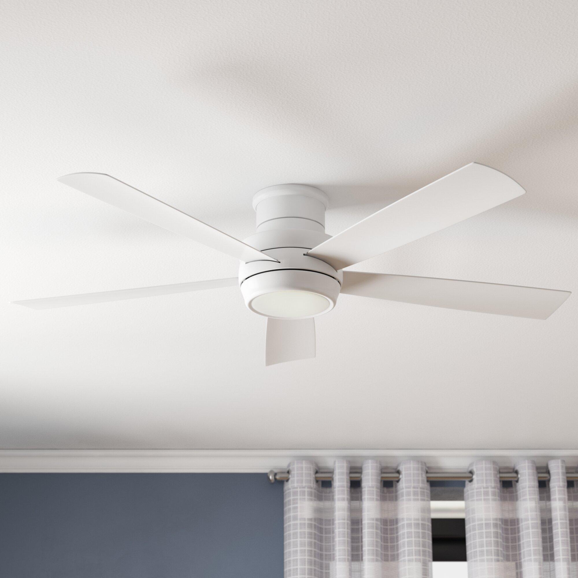 Image of: White Ceiling Fan With Light Kit Hugger 52 In Indoor Led 5 Blades Flush Mount