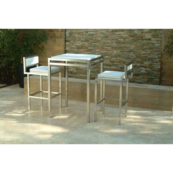 Talt 3 Piece Bar Height Dining Set with Cushions by Modern Outdoor