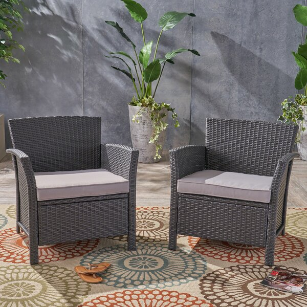 Rummond Outdoor Wicker Patio Chair with Cushions (Set of 2) by Red Barrel Studio