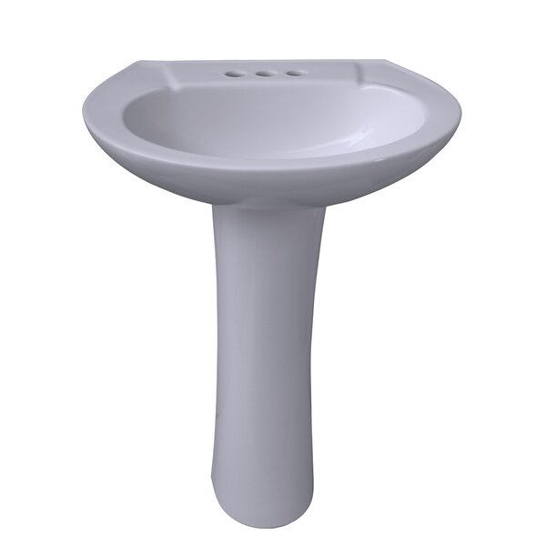 Chelsea 450 Vitreous China Oval Pedestal Bathroom Sink with Overflow by Barclay