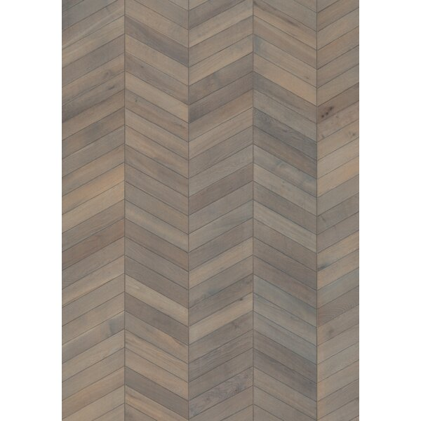 Chevron 12 Engineered Oak Hardwood Flooring in Gray by Kahrs