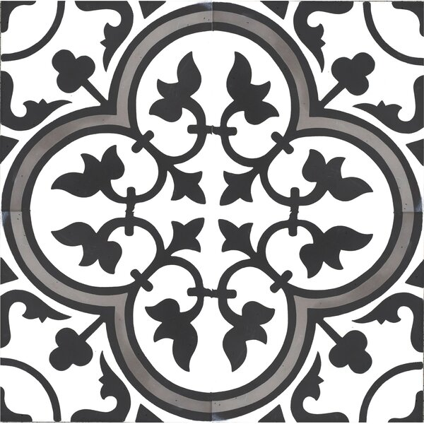 MeaLu 8 x 8 Cement Field Tile in Gray/Black (Set of 4) by Rustico Tile & Stone