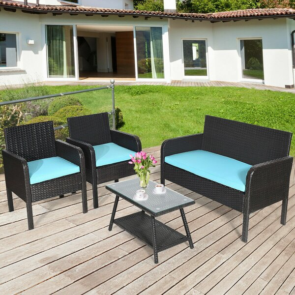 Batres 4 Piece Rattan Sofa Seating Group with Cushions by Breakwater Bay