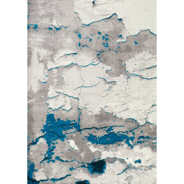 Julee Cracked Surface Gray/Blue Area Rug by Williston Forge