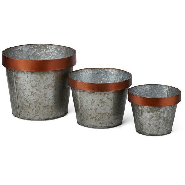 Splendid 3-Piece Iron Pot Planter Set by Benzara