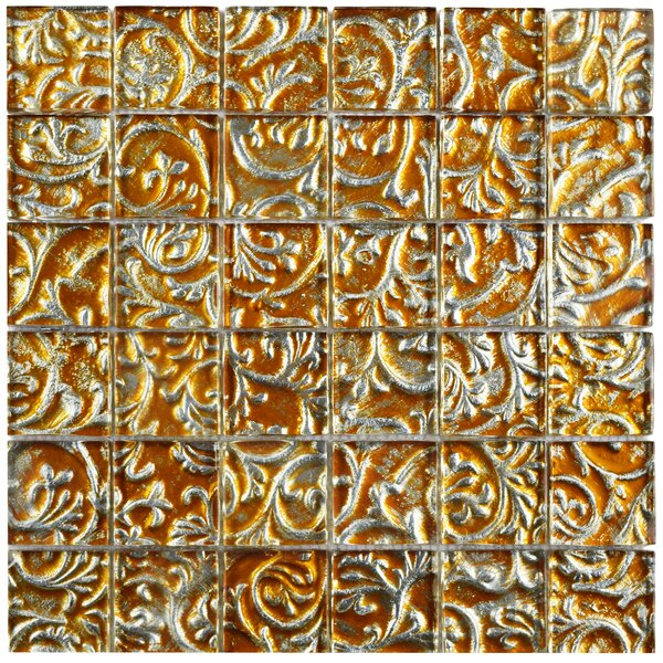 Florencia 1.88 x 1.88 Glass Mosaic Tile in Burnt Orange/Gold Ivy by EliteTile
