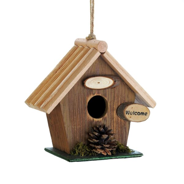 Pine Cone Rustic Wood 7 in x 8 in x 4 in Birdhouse by Zingz & Thingz