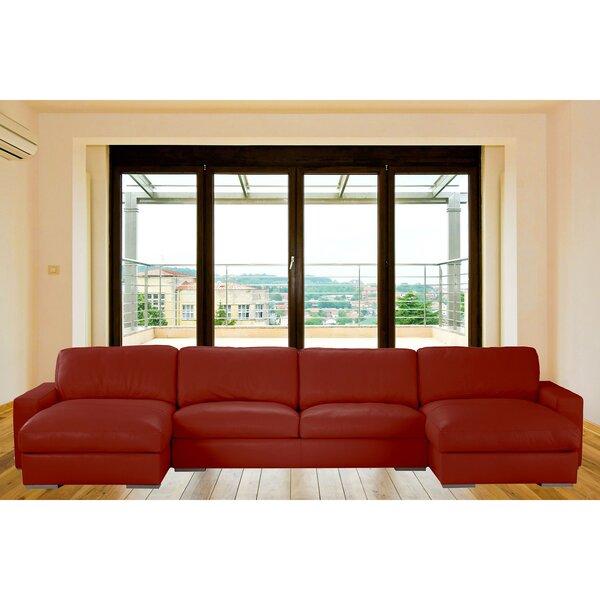 Velva Symmetrical Leather Sectional By Orren Ellis