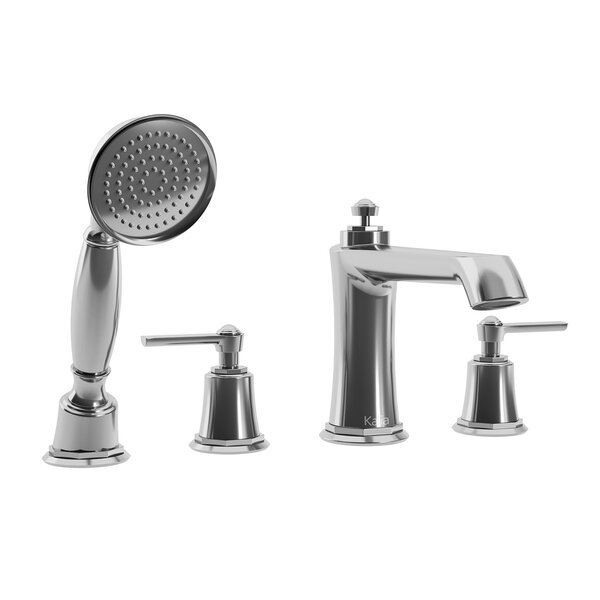 Rustik Double Handle Deck Mounted Roman Tub Faucet With Diverter And Handshower By Kalia