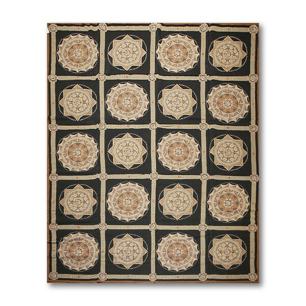 One-of-a-Kind Jamarion Needlepoint Aubusson Hand-Woven Black/Beige Area Rug by Astoria Grand