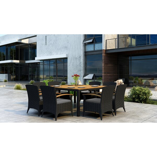 Aisha 9 Piece Dining Set with Sunbrella Cushion by Brayden Studio