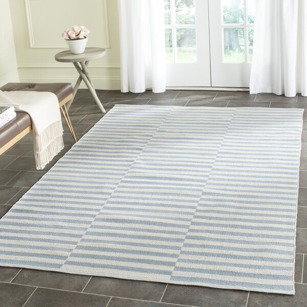 Orwell Hand-Woven Cotton Ivory/Light Blue Area Rug by Breakwater Bay