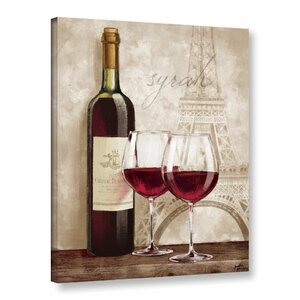 'Wine In Paris IV' Graphic Art on Wrapped Canvas by Charlton Home