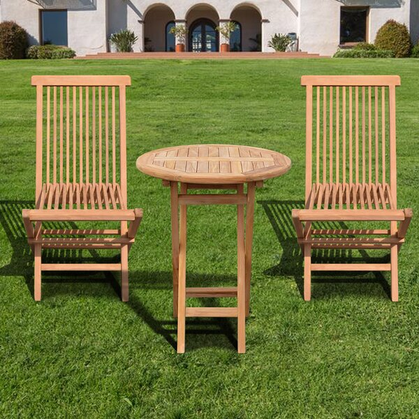 Lila 3 Piece Teak Bistro Set by Millwood Pines