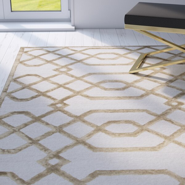 Fabian Geometric Hand Tufted Wool Cream Area Rug by Mercer41