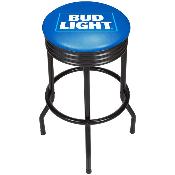 Bud Light Ribbed 28.5 Swivel Bar Stool by Trademark Global