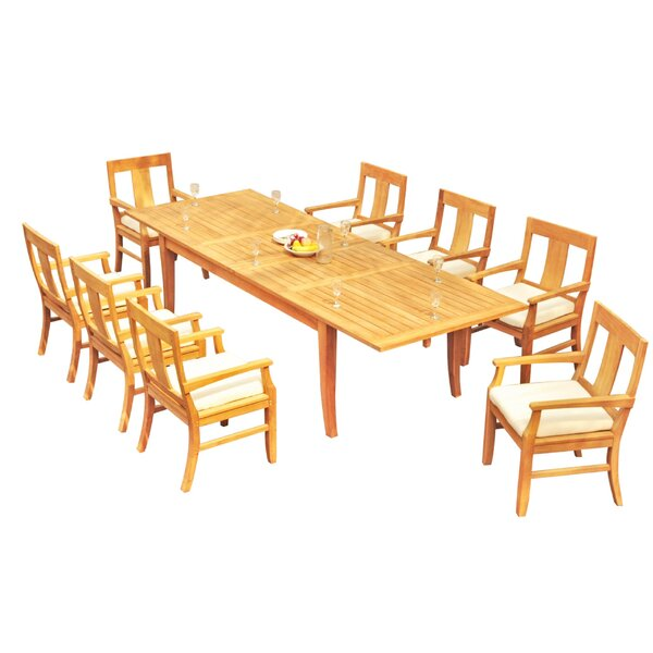 Keyon 9 Piece Teak Dining Set by Rosecliff Heights
