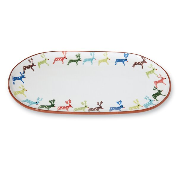 Christmas Reindeer Water-Color Oval Platter by Mud