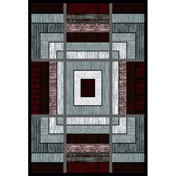 Mccampbell 3D Modern Contemporary Burgundy/Gray Area Rug by Ivy Bronx