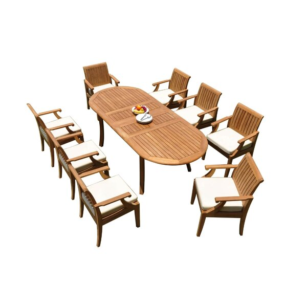 Alijah 9 Piece Teak Dining Set by Rosecliff Heights