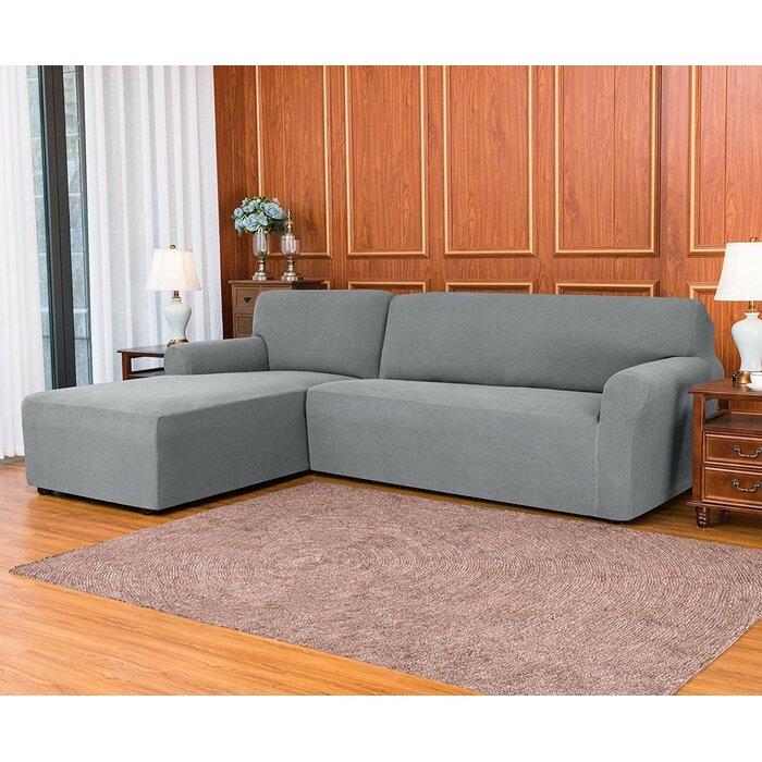 L-Shaped Jacquard Spandex Stretch Box Cushion Sofa Slipcover