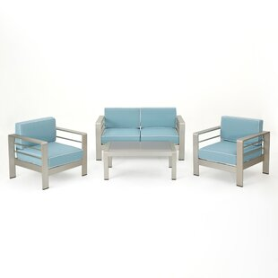 Durbin 4 Piece Sofa Set with Cushions By Wade Logan
