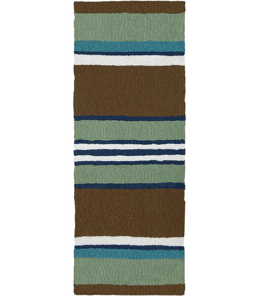 Caterina Woodbine Hand-Hooked Brown/Green Indoor/Outdoor Area Rug by Highland Dunes