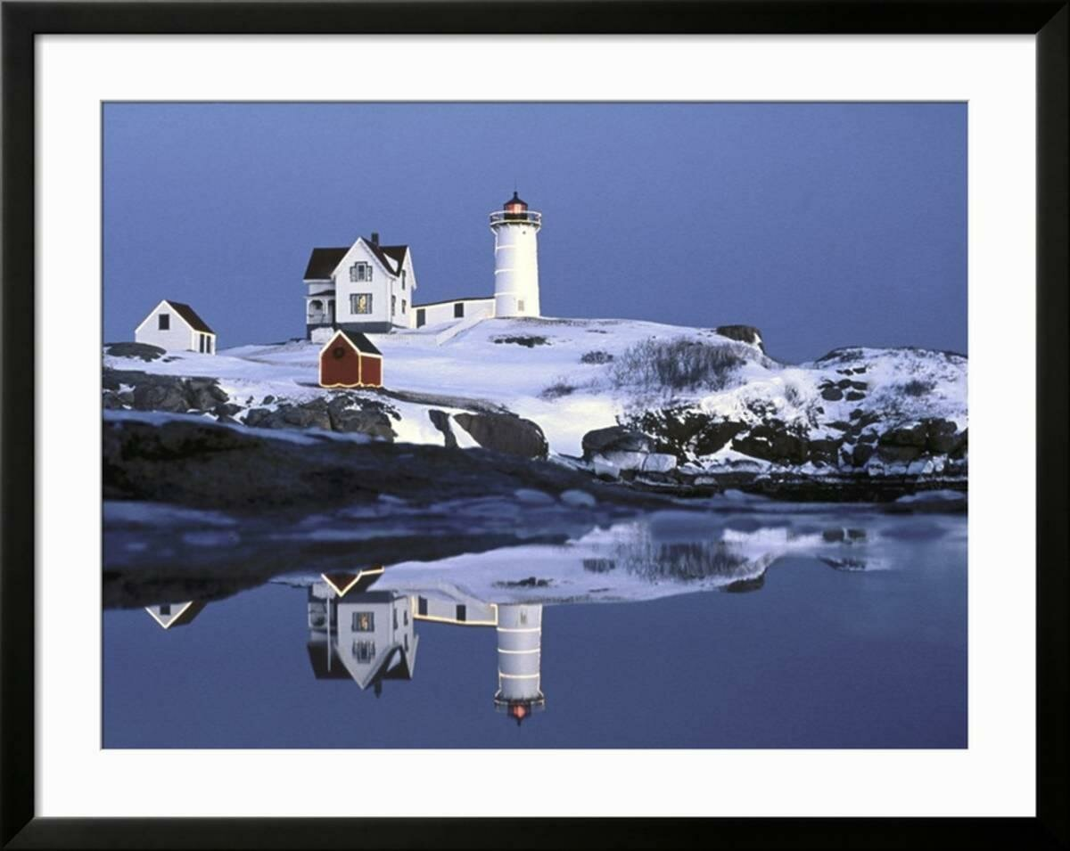 Breakwater Bay \'Nubble at Christmas Time in New England\' Framed ...