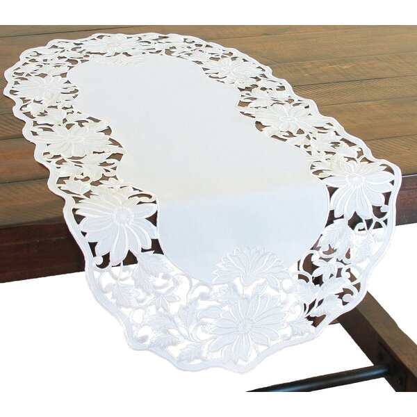 Daisy Garden Embroidered Cutwork Table Runner by Xia Home Fashions