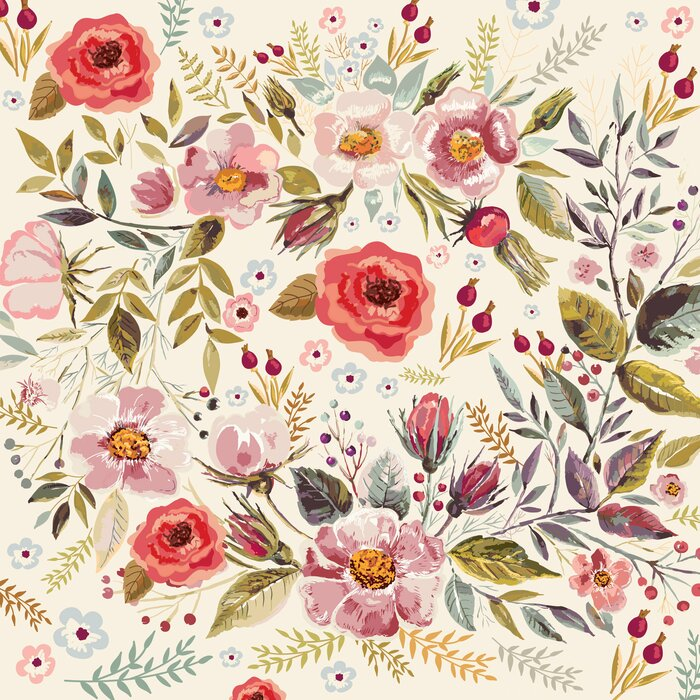 Mandalay Removable Vintage Berries Flowers 833 L X 100 W Peel And Stick Wallpaper Roll