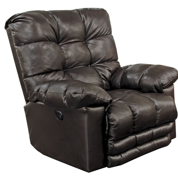 Morecambe Lay Flat Leather Power Recliner Red Barrel Studio W000098957