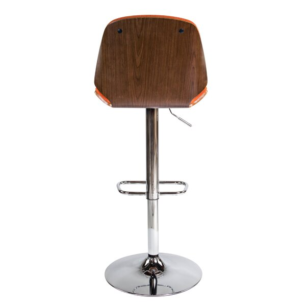 Division Street Adjustable Height Swivel Bar Stool by Mercury Row