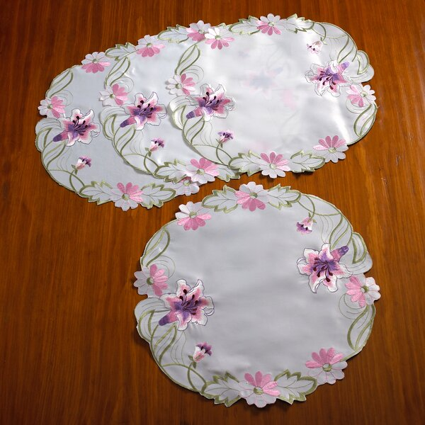 Seville Embroidered Vintage Lace Round Doilie Placemat (Set of 4) by Violet Linen