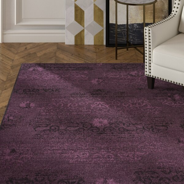 Chipping Ongar Black / Purple Area Rug by House of Hampton