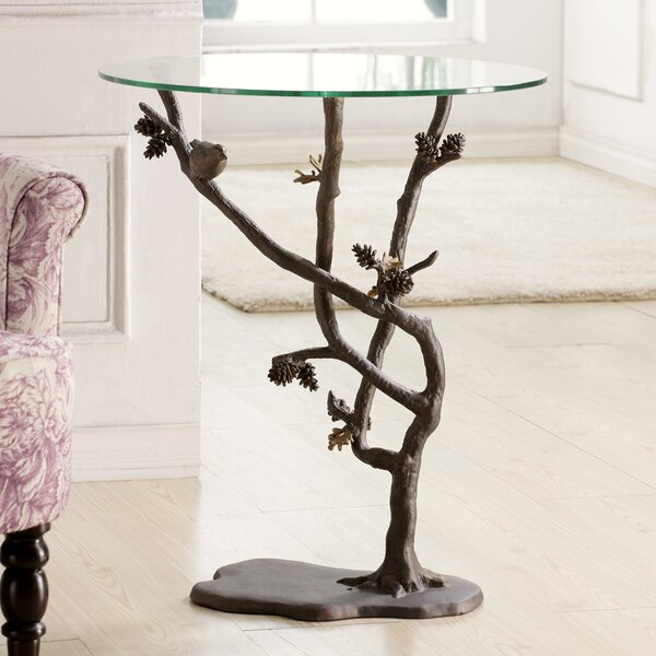 Bird and Pinecone End Table by SPI Home