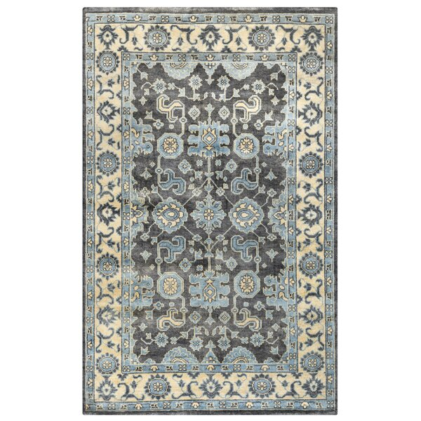 Basse Hand-Knotted Ivory/Charcoal Area Rug by Meridian Rugmakers