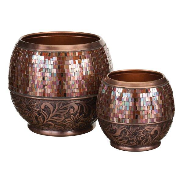 Jewel 2 Piece Metal Pot Planter Set by Regal Art & Gift
