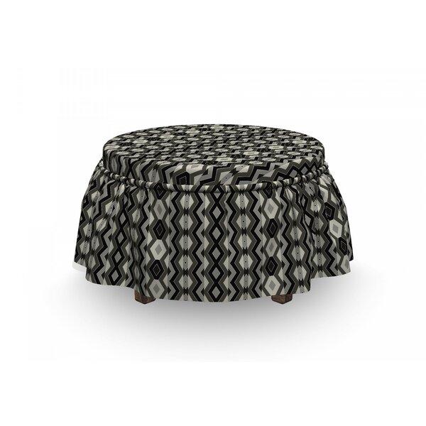 Geometric Chevron Zigzags Boho 2 Piece Box Cushion Ottoman Slipcover Set By East Urban Home