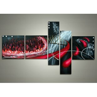 Cityscape - Bright of the Sky 5 Piece Painting on Canvas Set By Design Art