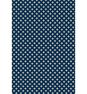 Reece Elegant Cross Design Blue/White Indoor/Outdoor Area Rug by George Oliver