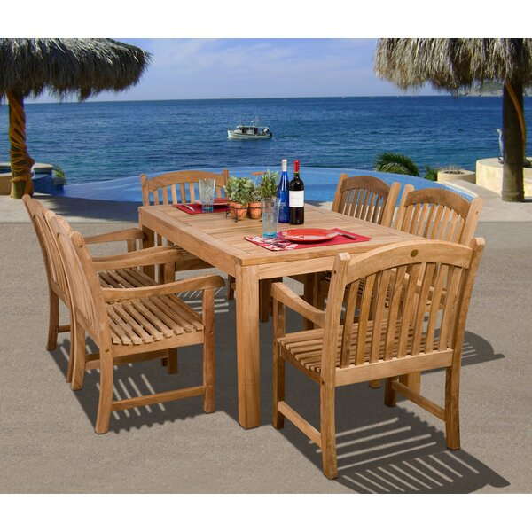Aracely International Home Outdoor 7 Piece Teak Dining Set by Rosecliff Heights
