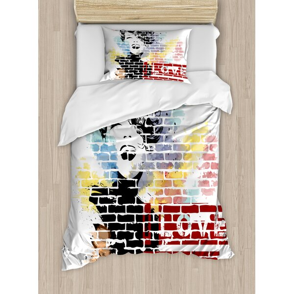Fashion House Love Paris and Woman Figure on Wall Street Art Elegance Cool Artwork Duvet Set by Ambesonne